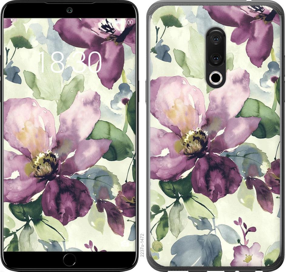 Чехол на Meizu 15 Цветы акварелью