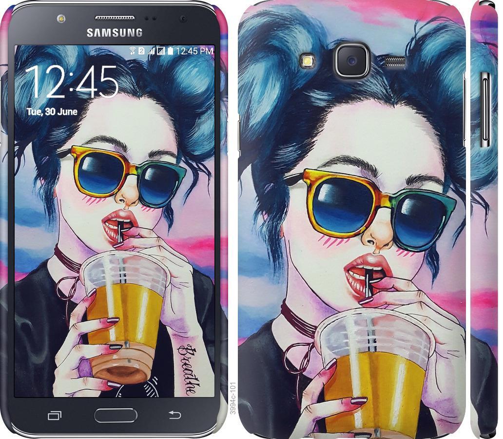 Чехол на Samsung Galaxy J7 J700H Арт-девушка в очках