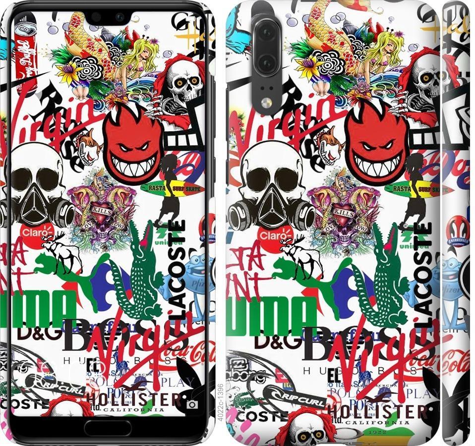 Чехол на Huawei P20 Many different logos