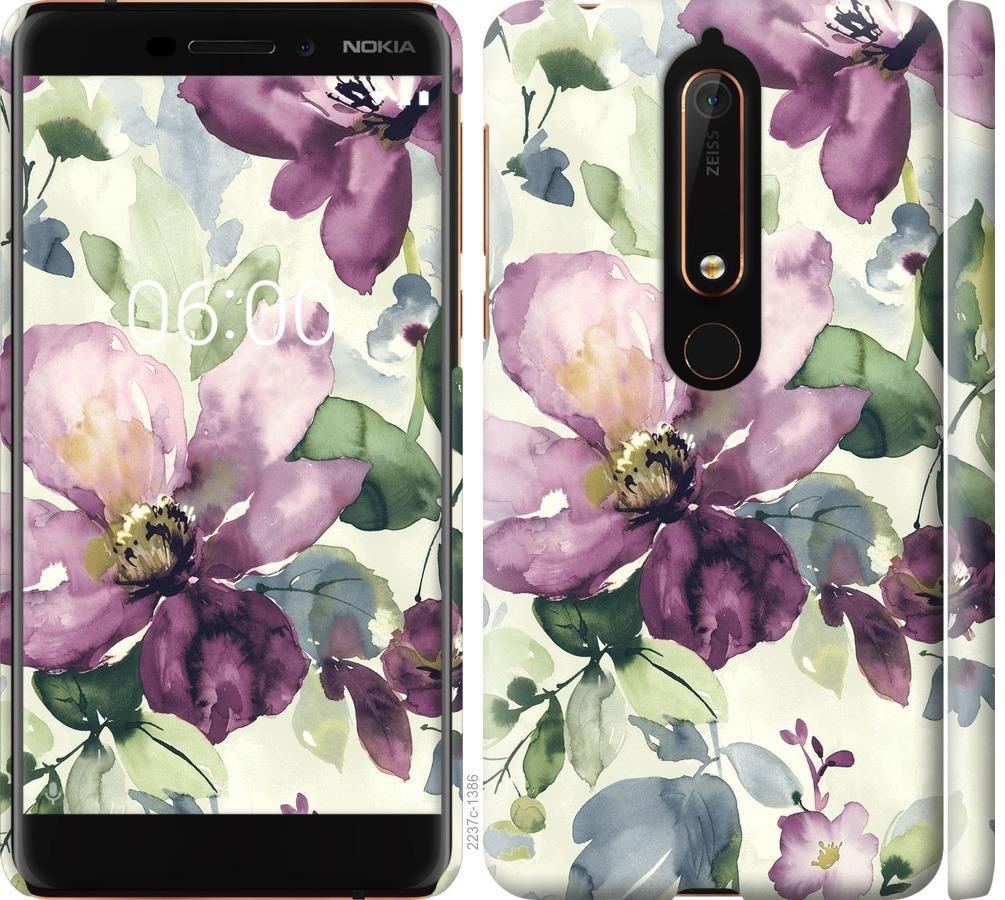 Чехол на Nokia 6.1 Цветы акварелью