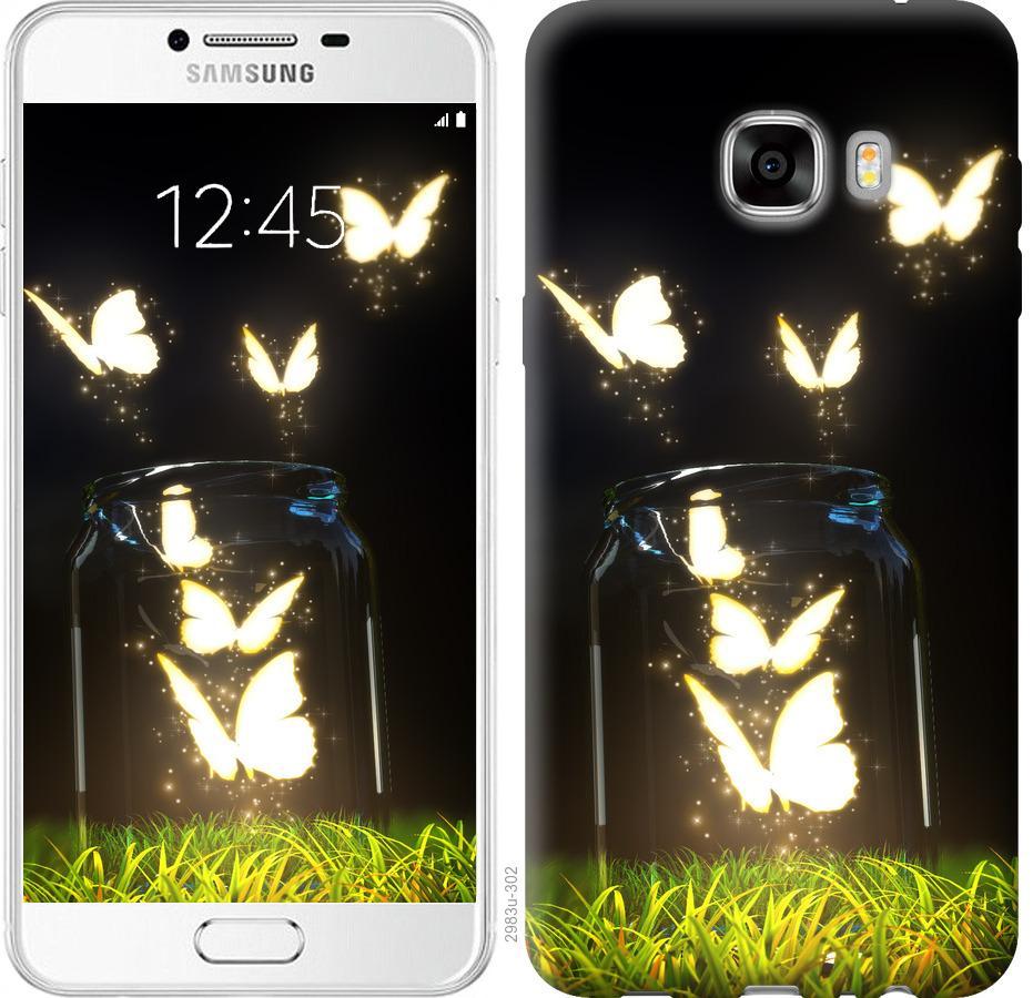 Чехол на Samsung Galaxy C7 C7000 Светящиеся бабочки