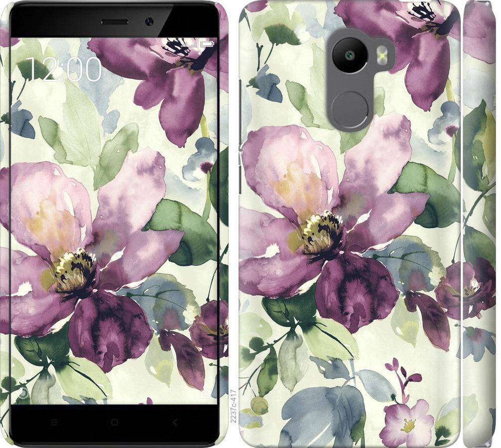Чехол на Xiaomi Redmi 4 Цветы акварелью