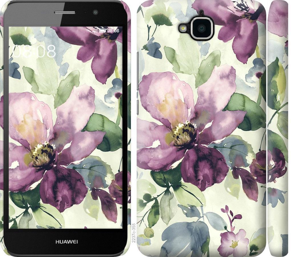 Чехол на Huawei Y6 Pro Цветы акварелью