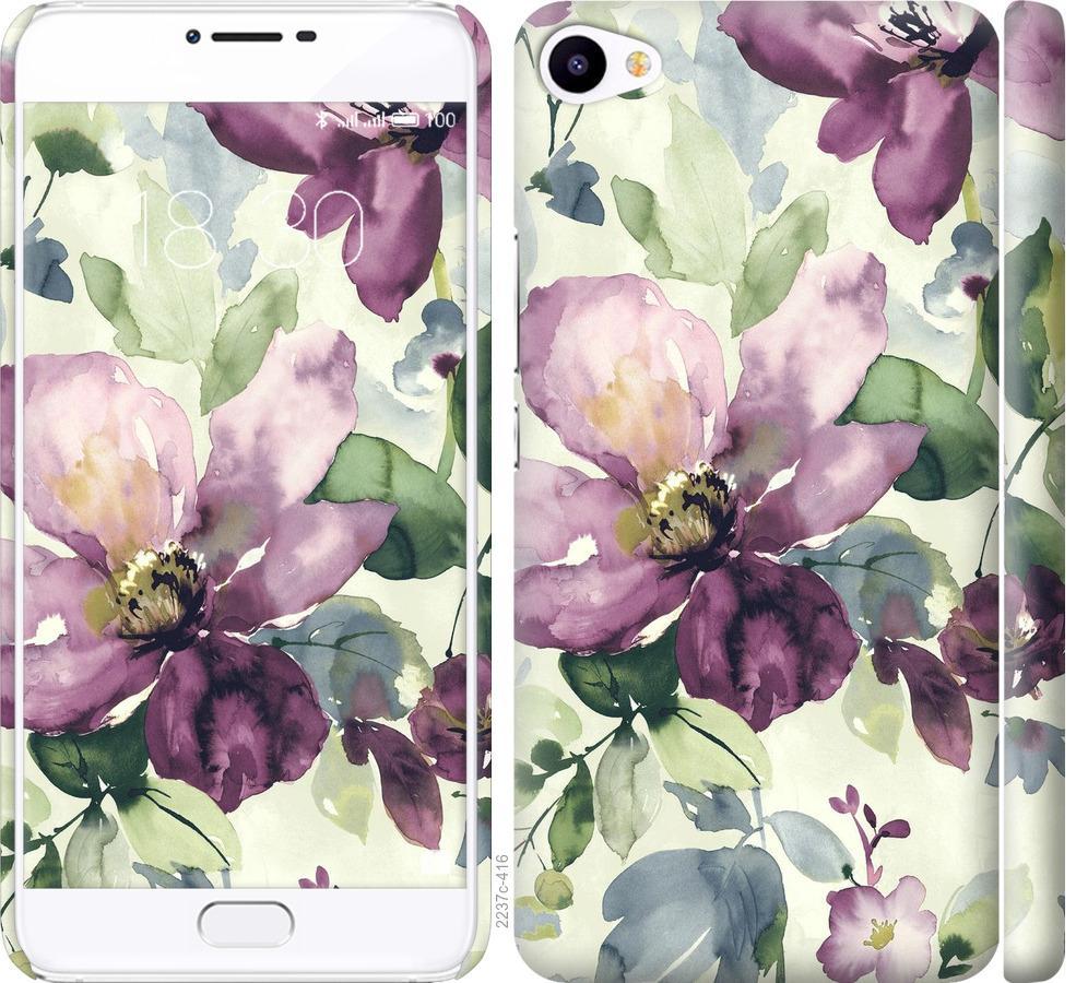 Чехол на Meizu U20 Цветы акварелью