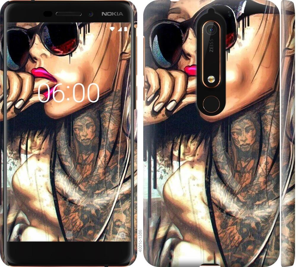 Чехол на Nokia 6 2018 Девушка в тату