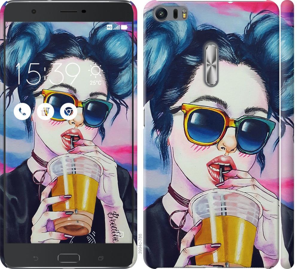 Чехол на Asus Zenfone 3 Ultra ZU680KL Арт-девушка в очках