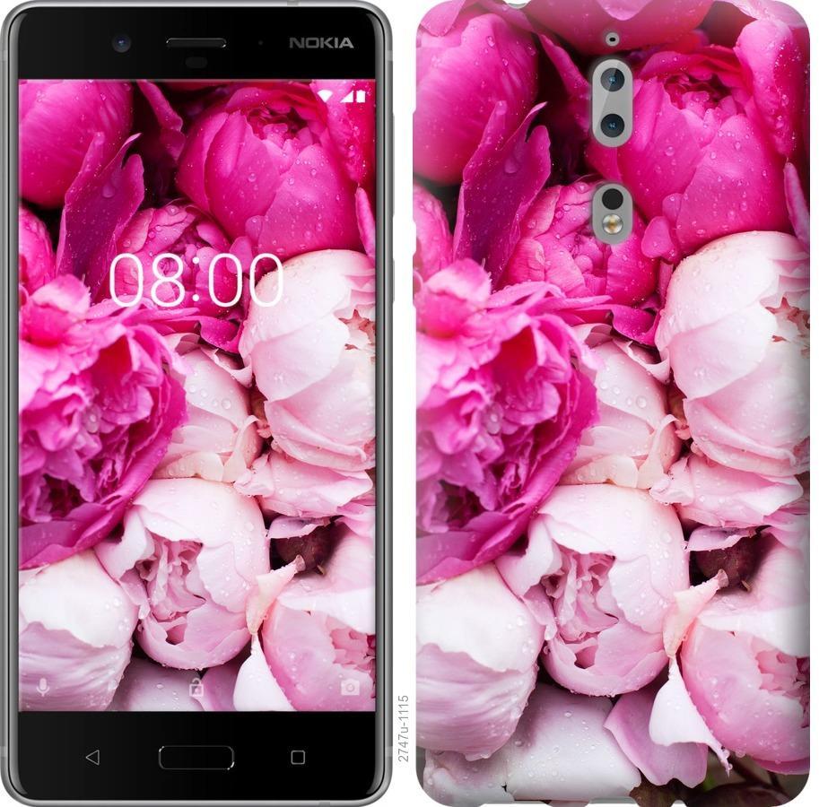 Чехол на Nokia 8 Розовые пионы