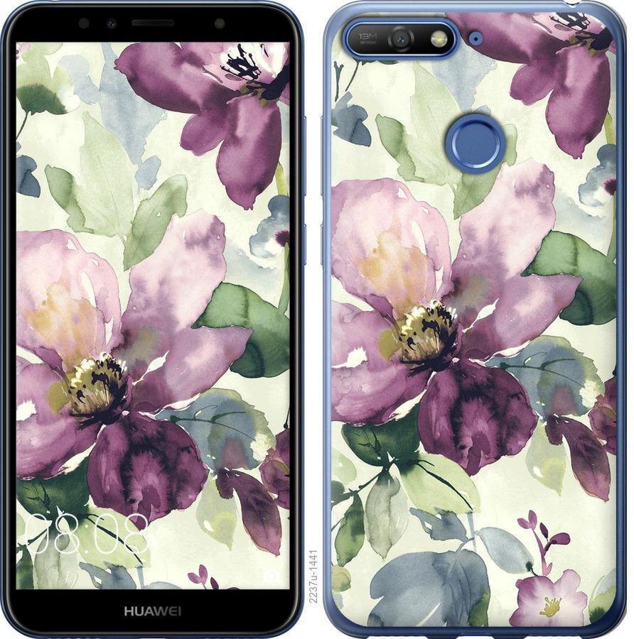 Чехол на Huawei Honor 7A Pro Цветы акварелью