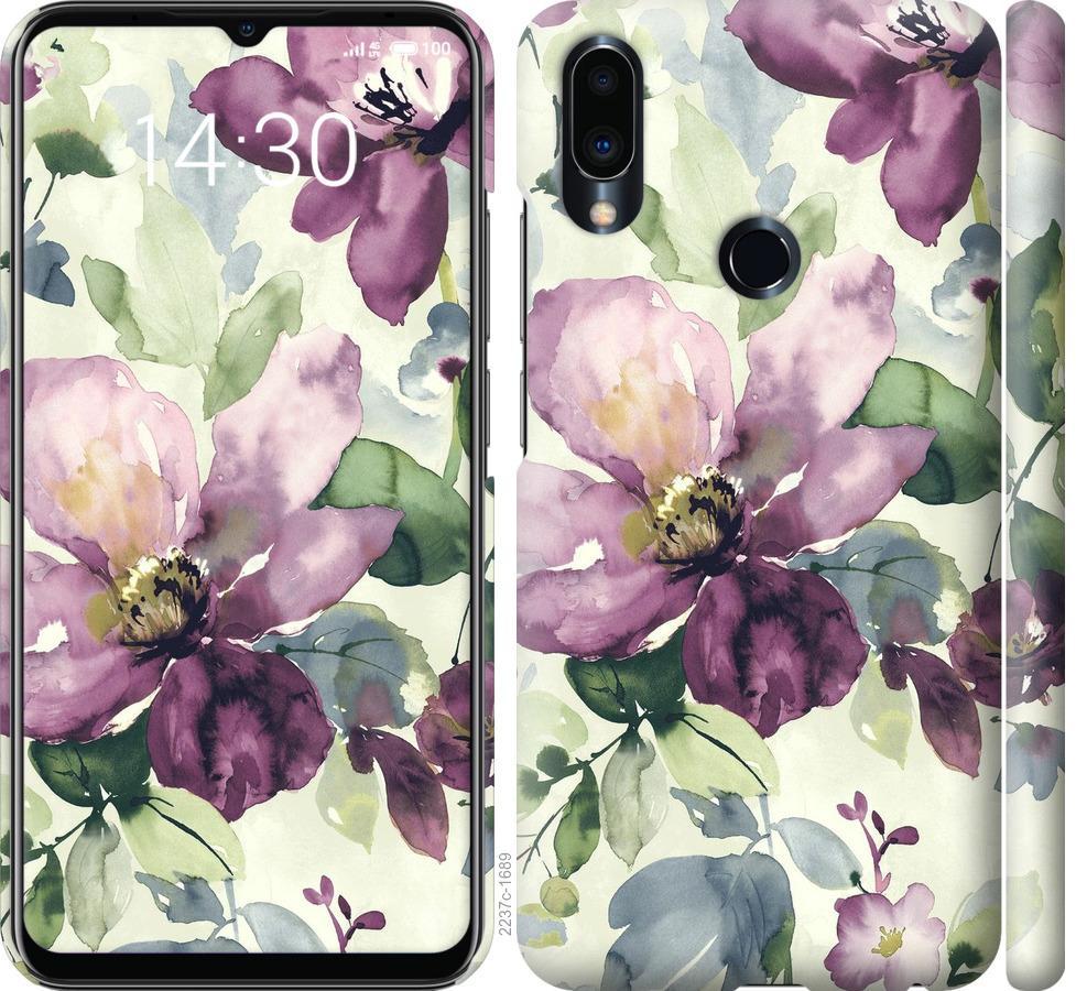 Чехол на Meizu Note 9 Цветы акварелью