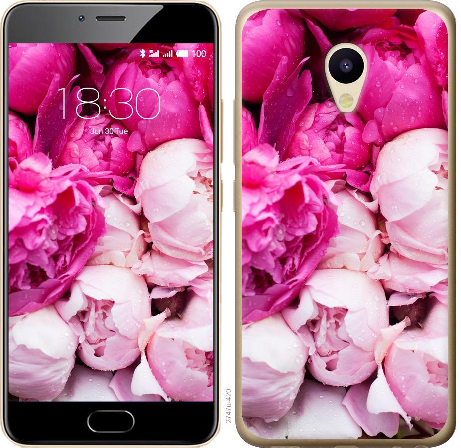 Чехол на Meizu M5 Розовые пионы