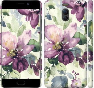 Чехол на Meizu M6 Note Цветы акварелью