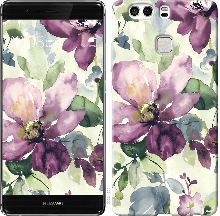 Чехол на Huawei P9 Plus Цветы акварелью