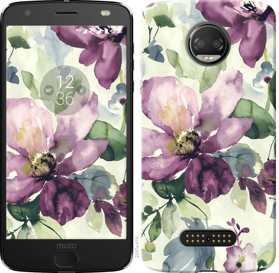 Чохол на Motorola Moto G5 PLUS Квіти аквареллю
