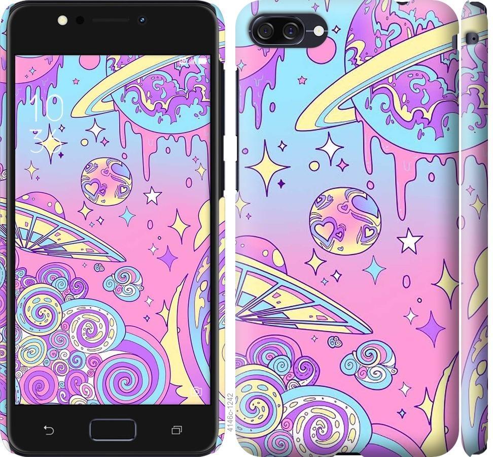 Чехол на Asus ZenFone 4 Max ZC554KL Розовая галактика