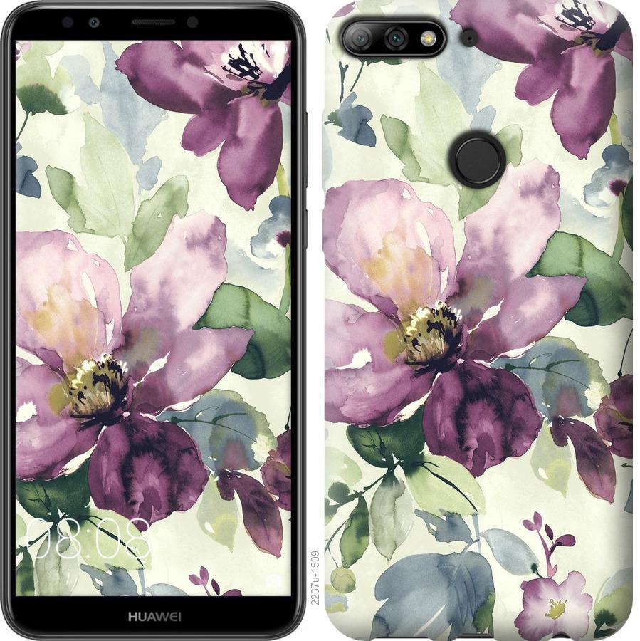 Чехол на Huawei Honor 7C Цветы акварелью