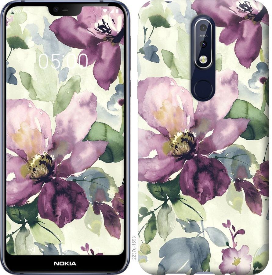 Чехол на Nokia 7.1 Цветы акварелью