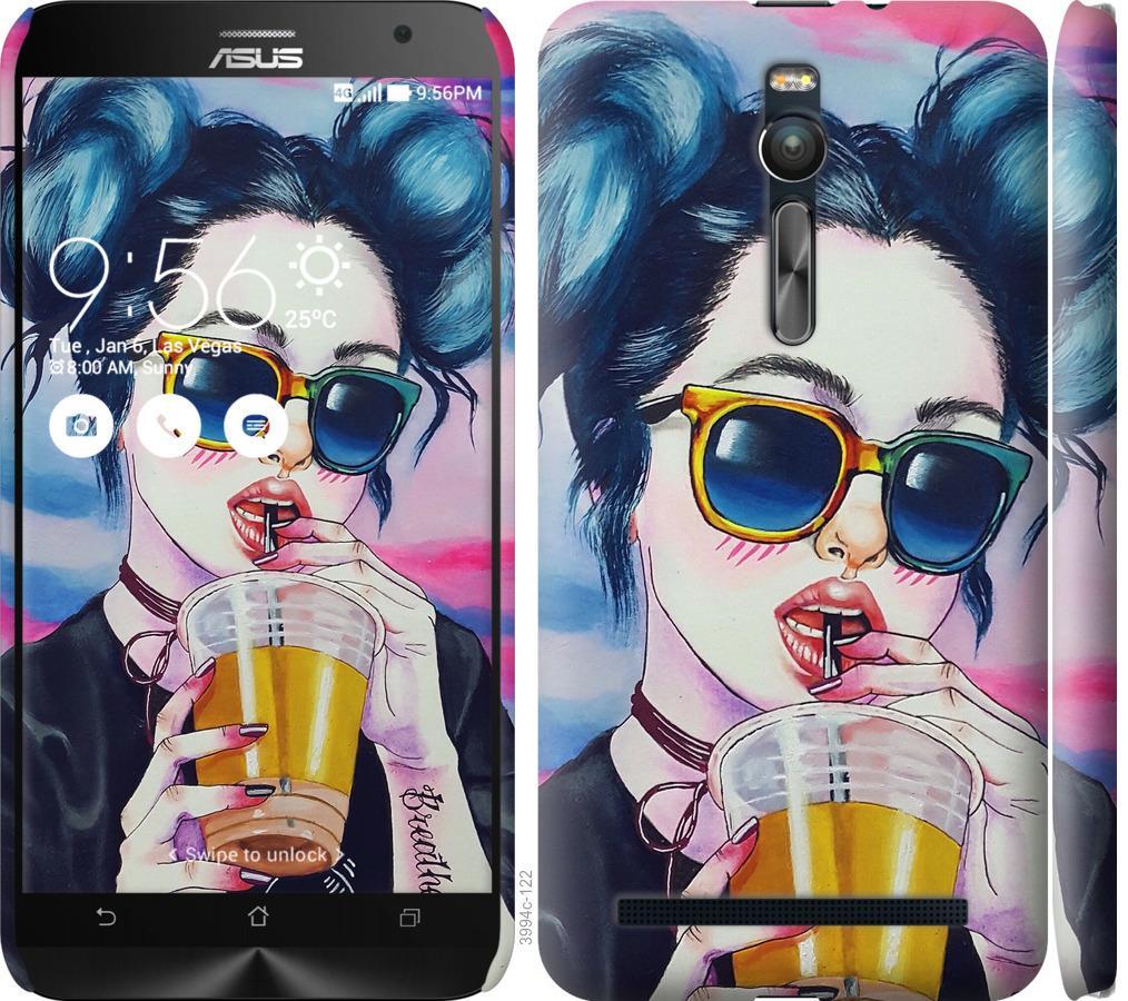 Чехол на Asus Zenfone 2 ZE551ML Арт-девушка в очках
