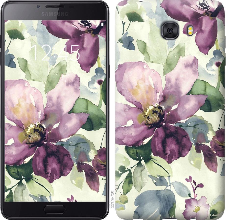 Чехол на Samsung Galaxy C9 Pro Цветы акварелью