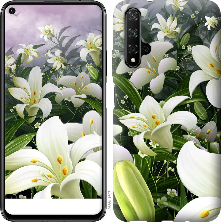 Чехол на Realme X50 Белые лилии