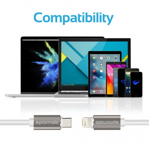 Кабель Promate - linkMate-LTC USB-C Type-C Data & Charge OTG Cable with Lightning Connector (2 цвета) на itsell.ua