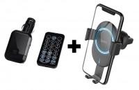 Автодержатель с БЗУ HOCO CW17 Wireless Charger + Автомобильный FM-модулятор (трансмиттер) S9