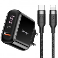 СЗУ USAMS US-CC085 T23 QC3.0+PD3.0 Fast Charger (EU)+U31 Type-C to Lightning PD Fast Charging 1.2m