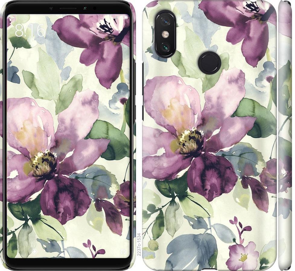 Чехол на Xiaomi Mi Max 3 Цветы акварелью