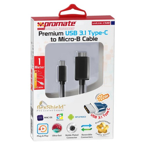 Фото Кабель Promate - uniLink-CMB Premium New USB 3.1 Type-C to USB Micro-B Cable Черный в магазине itsell.ua