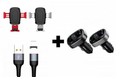 Автодержатель Baseus Wireless Charger Gravity Car Mount Air Outlet Version 1.67A 10W + АЗУ Baseus Bluetooth FM Launcher 2.4A 2USB + Дата кабель USAMS US-SJ328 U28 Magnetic USB to MicroUSB (1m) (3A)