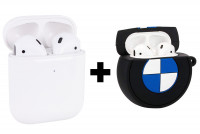 Беспроводные наушники Air 2 A+ + Силиконовый футляр Logo series для наушников AirPods + карабин