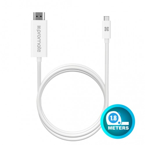 Фото Кабель Promate - uniLink-H1 USB 3.1 Type-C to HDMI Audio Video Cable with 4K x 2K Resolution Support Белый на itsell.ua