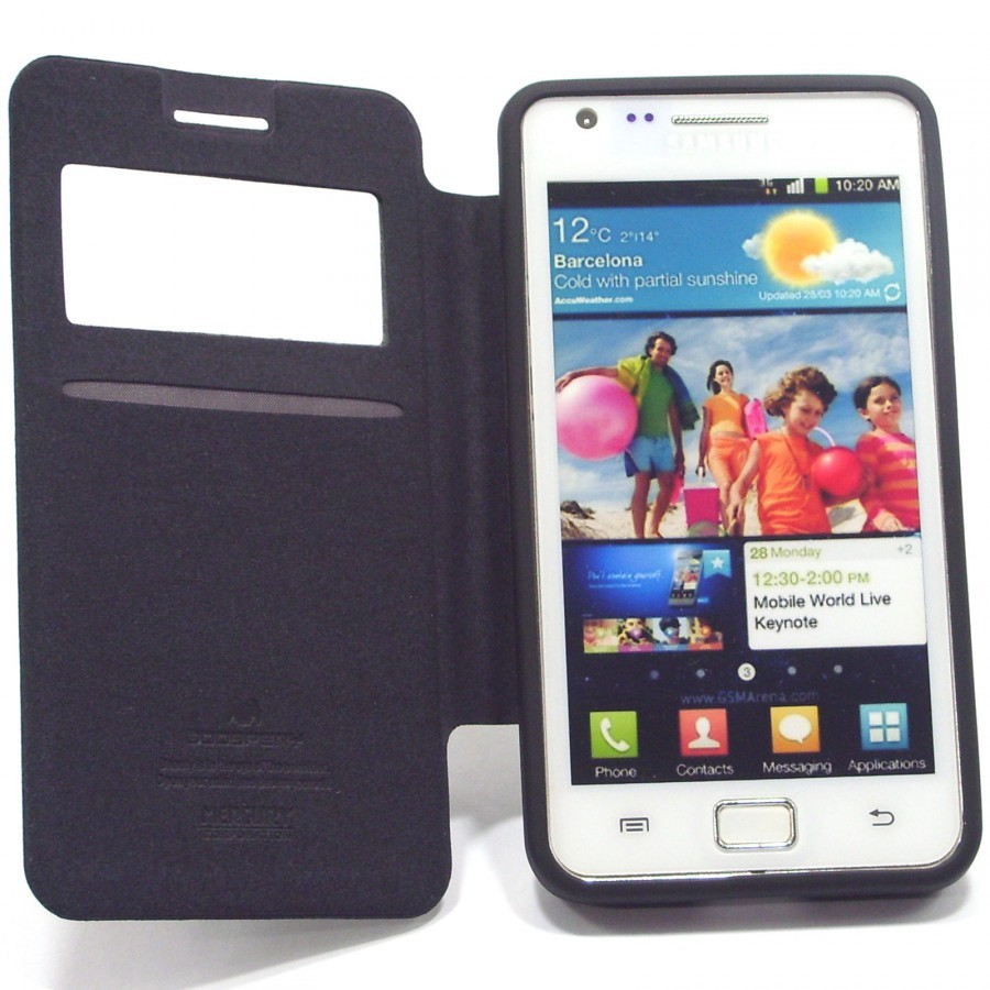 Фото Чехол (книжка) Mercury Wow Bumper series для Samsung i9100 Galaxy S2/i9105 Galaxy S2 Plus Черный в магазине itsell.ua