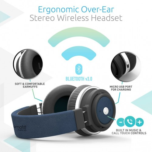 Фото Bluetooth наушники Promate - Astro Ergonomic Over-Ear Stereo Wireless Headset Синий на itsell.ua
