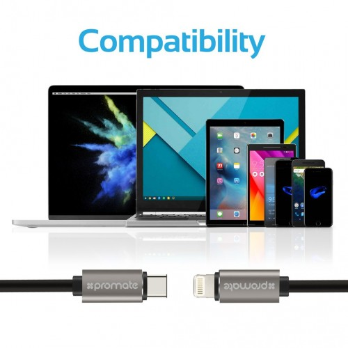 Заказать Кабель Promate - linkMate-LTC USB-C Type-C Data & Charge OTG Cable with Lightning Connector (2 цвета) на itsell.ua