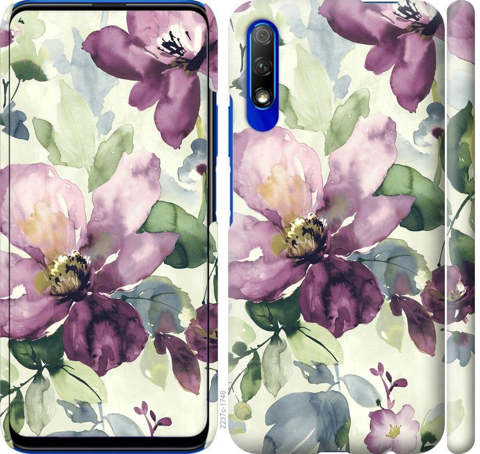 Чехол на Huawei P Smart Pro Цветы акварелью