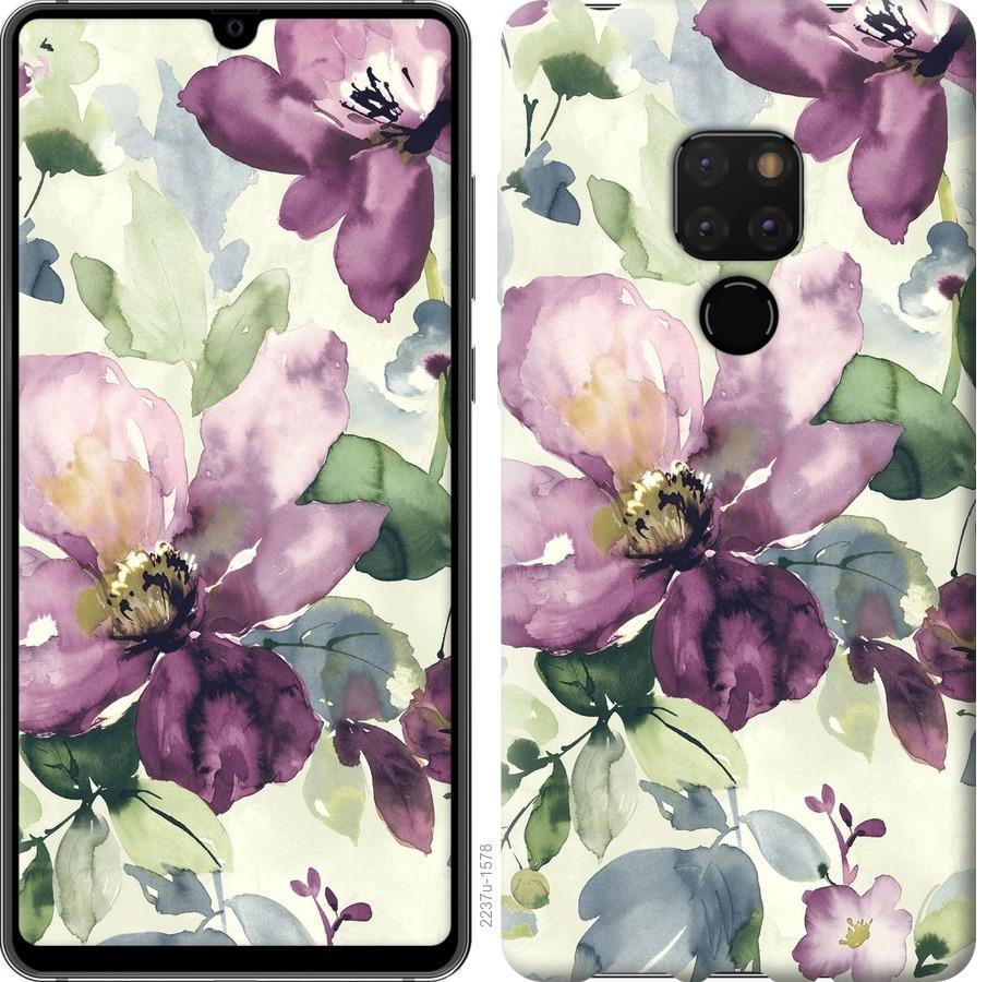 Чехол на Huawei Mate 20 Цветы акварелью