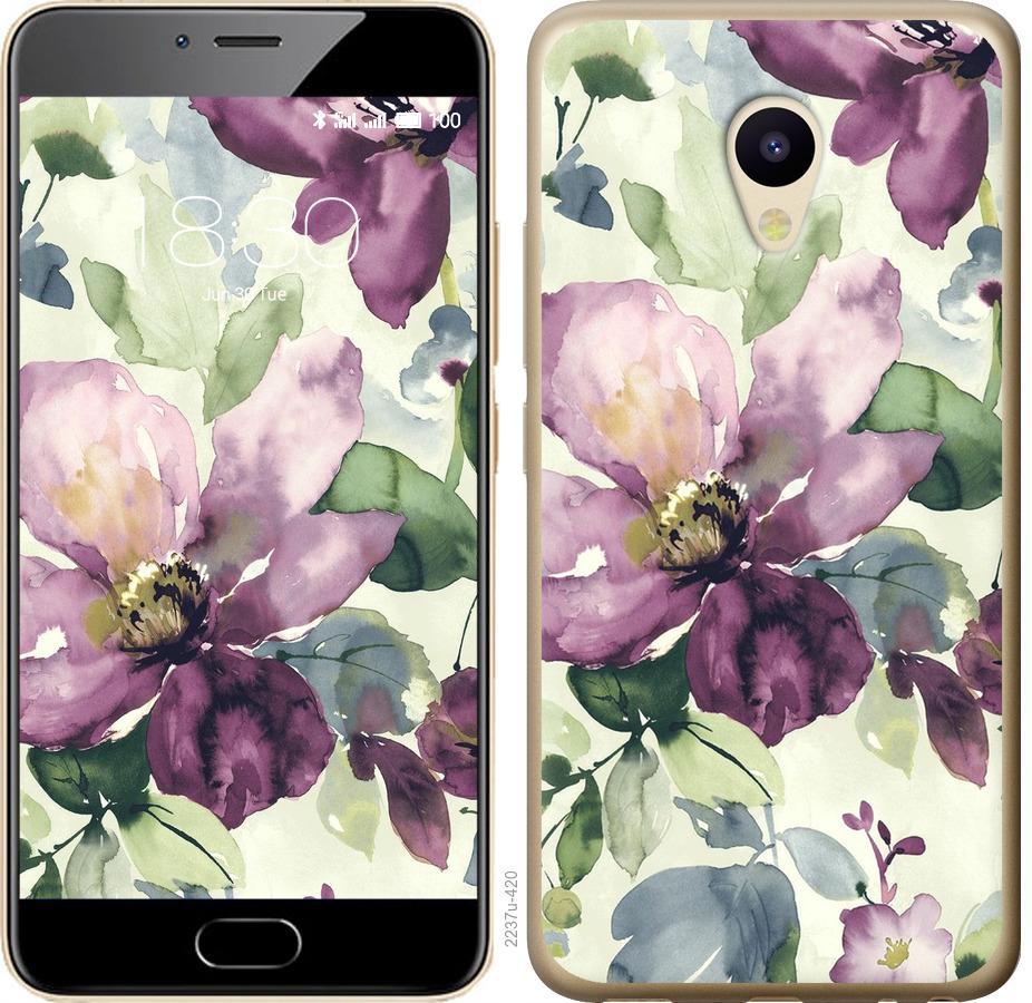Чехол на Meizu M5 Цветы акварелью