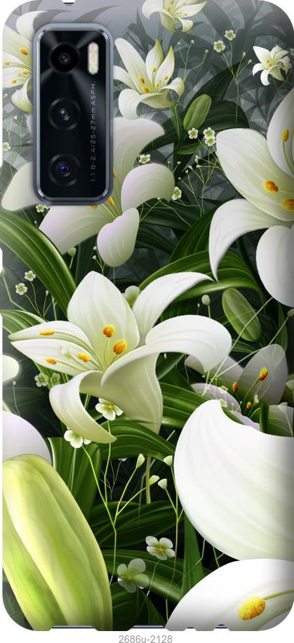 Чехол на Vivo V20 SE Белые лилии
