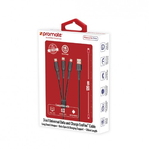 Фото Кабель Promate - FlexLink-Trio 3-in-1 Universal ExoFlex® Charging Cable Черный в магазине itsell.ua