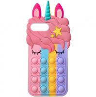 """Фигурный силиконовый 3D чехол-антистресс Pop it Bubble Unicorn для Apple iPhone 6+ / 7+/8+ (5.5"""")"""