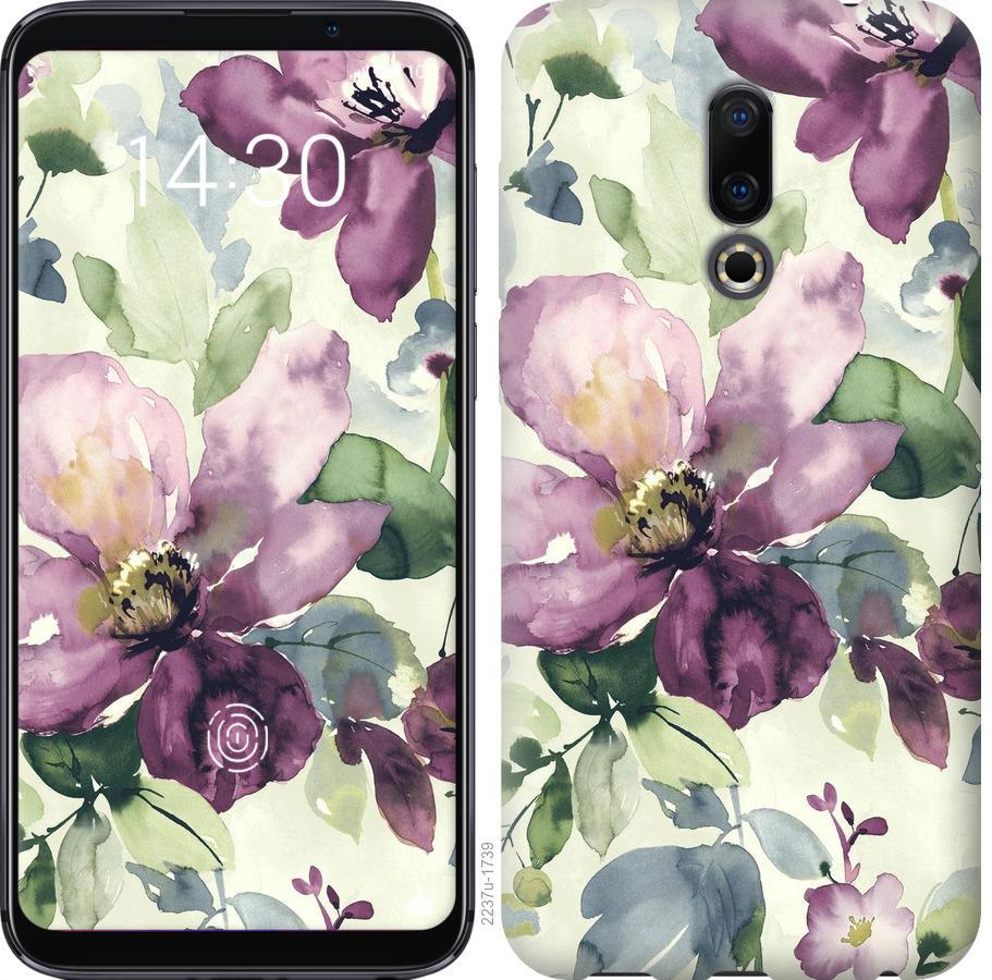 Чехол на Meizu 16 Цветы акварелью