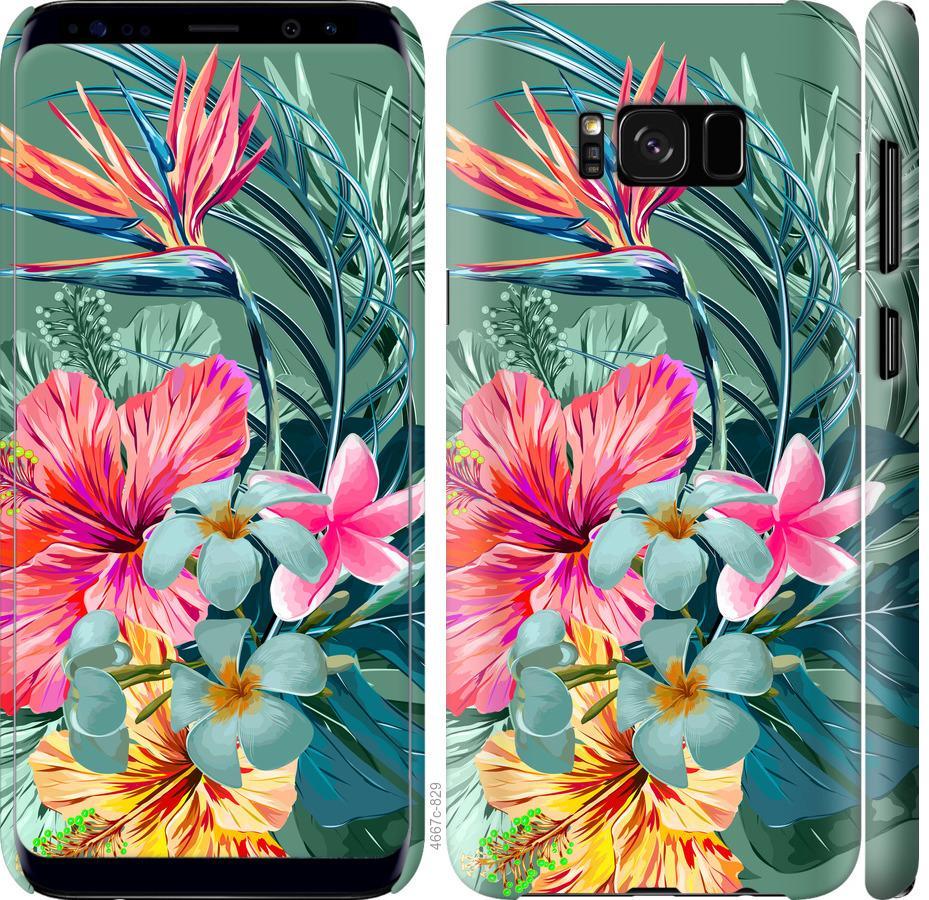 Чехол на Samsung Galaxy S8 Тропические цветы v1
