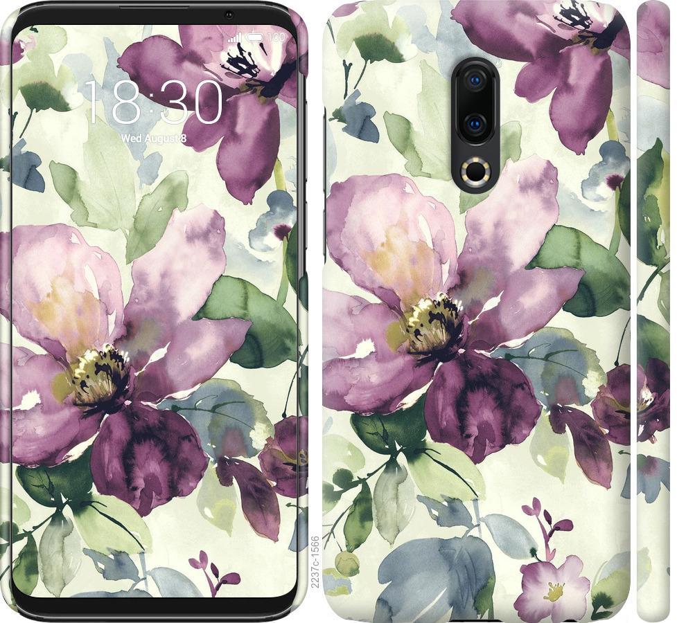 Чехол на Meizu 16 Plus Цветы акварелью