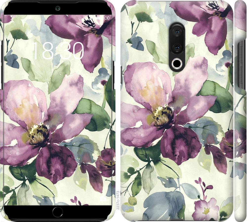 Чехол на Meizu 15 Plus Цветы акварелью
