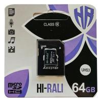 Карта памяти Hi-Rali microSDHC 64 GB Card Class 10 + SD adapter
