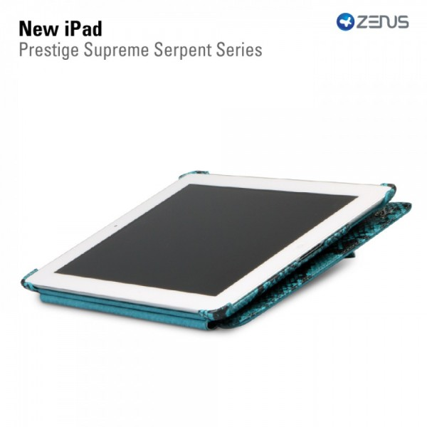 Кожаный чехол Zenus Prestige Supreme Serpent Series для Apple IPAD 3/2 Голубой на itsell.ua