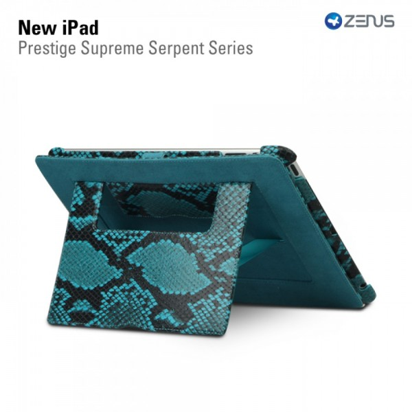 Купить Кожаный чехол Zenus Prestige Supreme Serpent Series для Apple IPAD 3/2 Голубой на itsell.ua