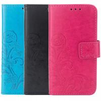 Кожаный чехол (книжка) Four-leaf Clover с визитницей для Huawei Enjoy 9 Plus
