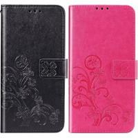 Кожаный чехол (книжка) Four-leaf Clover с визитницей для Meizu M8 Lite