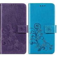 Кожаный чехол (книжка) Four-leaf Clover с визитницей для Samsung Galaxy A40 (A405F)